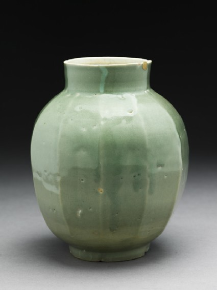 Faceted jar with green glaze