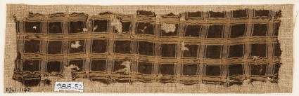 Textile fragment with grid of stripes