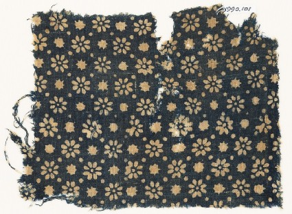 Textile fragment with rosettes, stars, and dots