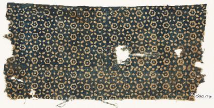 Textile fragment with hexagons, quatrefoils, and dots