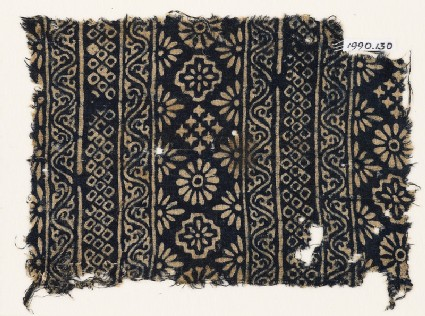 Textile fragment with carnations, stepped squares, stars, and rosettes