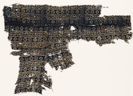 Textile fragment with vines, rosettes, and diamond-shapes