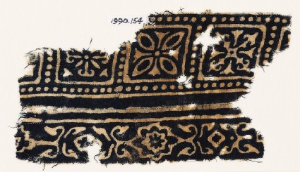Textile fragment with squares, quatrefoils, and flowers