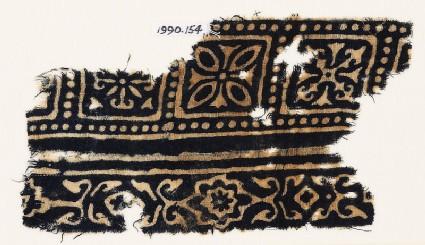Textile fragment with squares, quatrefoils, and flowers