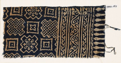 Textile fragment with squares and stepped squares