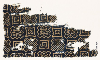 Textile fragment with squares, stepped squares, stars, and crosses
