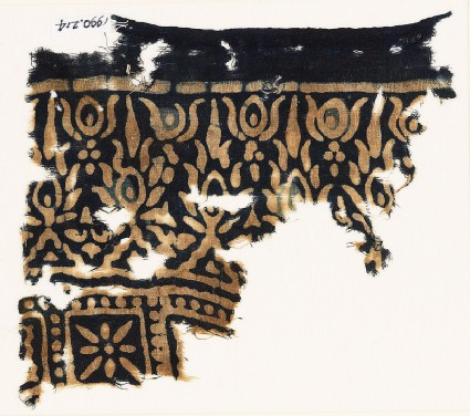 Textile fragment stylized trees
