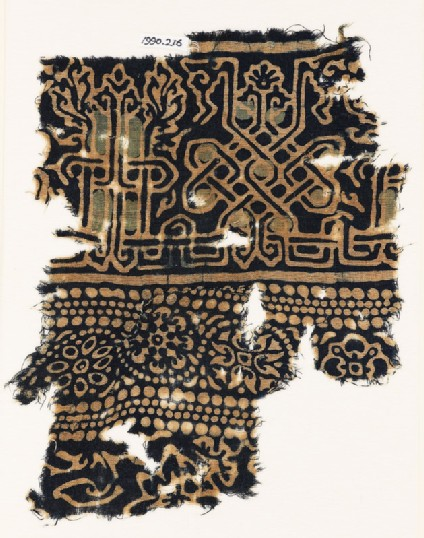Textile fragment with interlace based on naskhi script, rosettes, and floral pattern