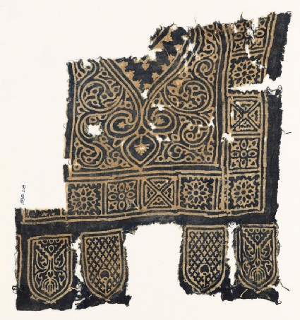 Textile fragment with medallion, squares with quatrefoils and rosettes, and tabs
