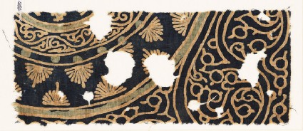 Textile fragment with vines, palmettes, and tendrils