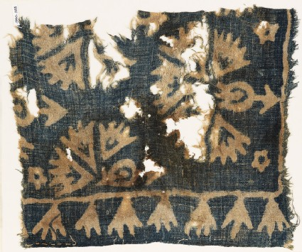 Textile fragment, possibly with plants and carnations
