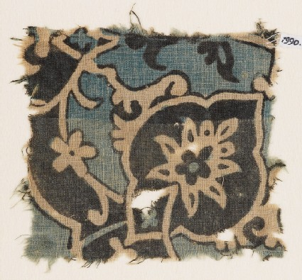 Textile fragment with large flower, tendrils, and leaves