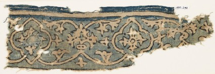 Textile fragment with vine, tendrils, and medallions