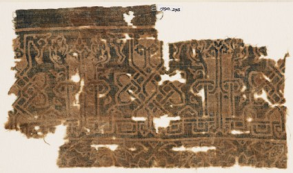 Textile fragment with interlace based on script, leaves, and tendrils