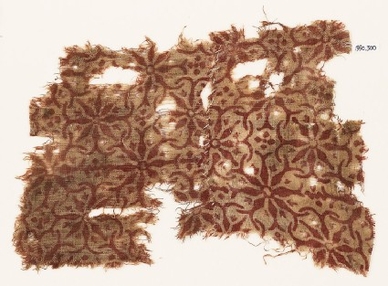 Textile fragment with interlocking floral shapes