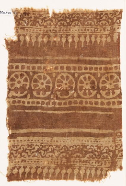 Textile fragment with rosettes, half-rosettes and bodhi leaves