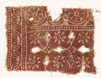 Textile fragment with rosettes and crosses