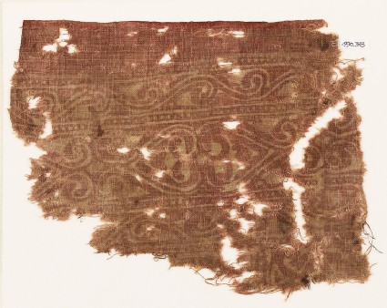 Textile fragment with linked hearts
