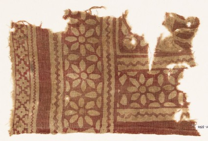 Textile fragment with rosettes and petals