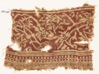 Textile fragment with vines and flowers