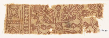 Textile fragment with Maltese cross and rosettes