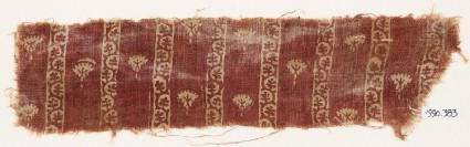 Textile fragment with flowers and bands of vine