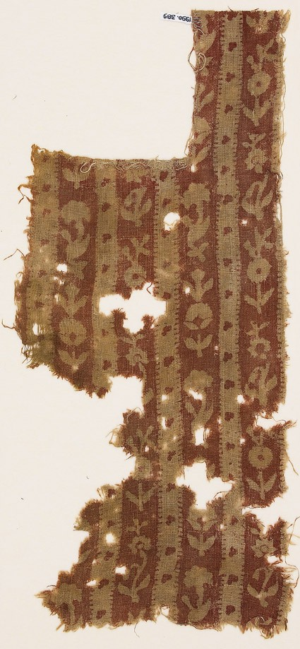 Textile fragment with bands of flowers, possibly from a garment
