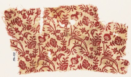 Textile fragment with plants, leaves, and flowers