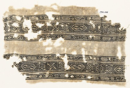 Textile fragment with bands of S-shapes, cartouches, stars, and interlace