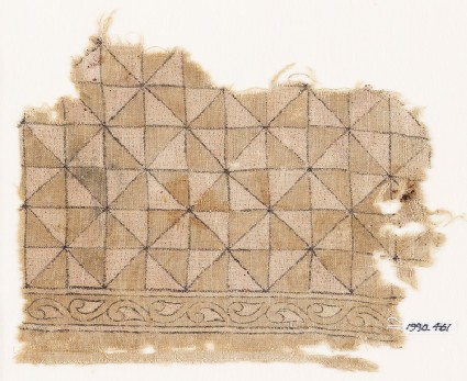 Textile fragment with triangles forming squares