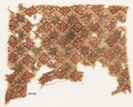 Textile fragment with rosettes and squares
