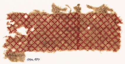 Textile fragment with grid of quatrefoils