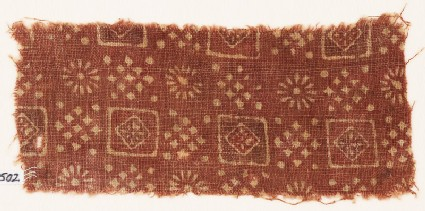 Textile fragment with squares, clusters of dots, and rosettes