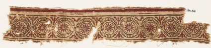 Textile fragment with rosettes in dotted circles