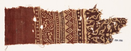 Textile fragment with bands of dotted patterns, vine, and stylized leaves