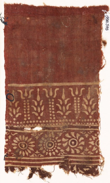 Textile fragment with stylized trees, columns, and rosettes
