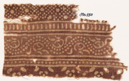 Textile fragment with bands of dotted vine, small stars and dots, and flowers