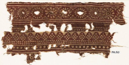 Textile fragment with bands of rosettes and dotted rhombic shapes