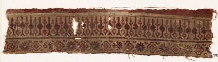 Textile fragment with bands of stylized trees or leaves, rosettes, and stepped squares