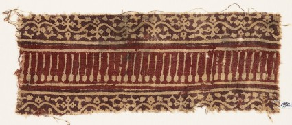 Textile fragment with vines, flowers, tendrils, and lines