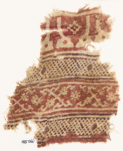 Textile fragment with bands of arches or stupas, dots, and crosses made of tendrils