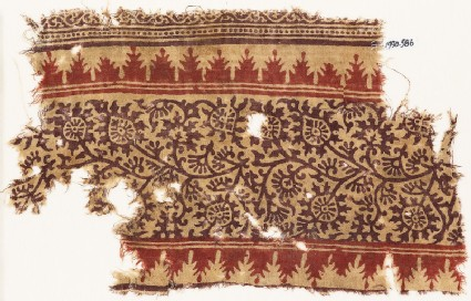 Textile fragment with tendrils, leaves, and flowers