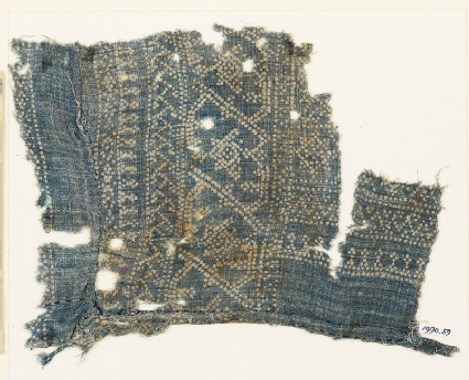 Textile fragment with dots, Z-shapes, and stars