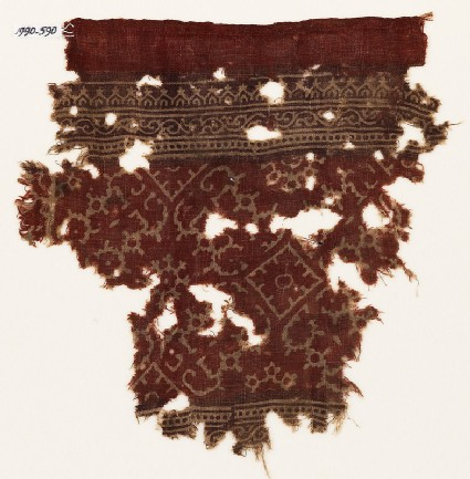 Textile fragment with tendrils, ornate rosettes, and squares