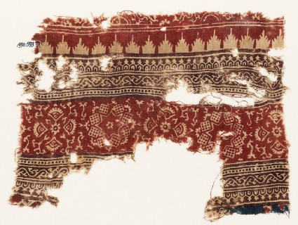 Textile fragment with stars, squares, and fans