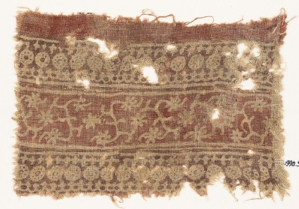 Textile fragment with bands of circles, arches, stars, tendrils, and rosettes