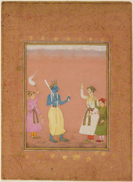 A hero greeted by princes, illustrating the musical mode Kanada Ragini