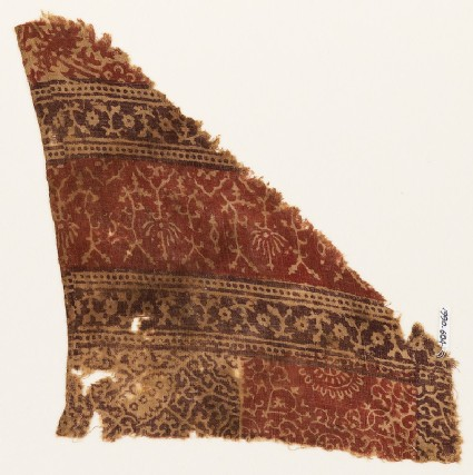 Textile fragment with bands of stylized plants, rosettes, and tendrils