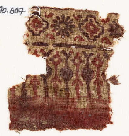 Textile fragment with stylized trees or leaves, rosettes, and stepped squares