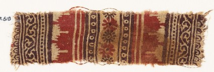 Textile fragment with bands of vines and tendrils, crenellations, rosettes, and dots